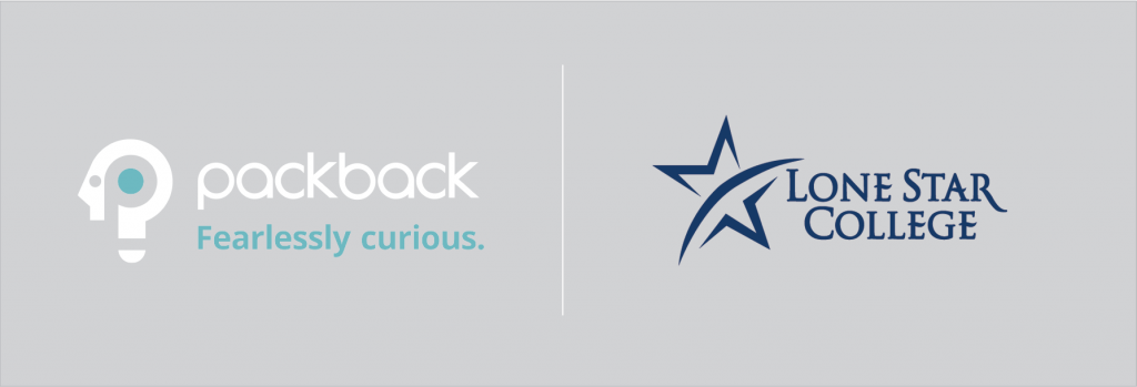 Header image of Packback logo and Lone Star College logo side by side