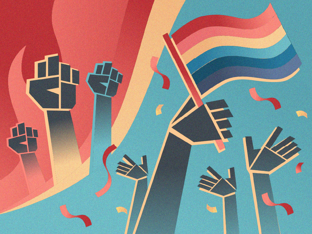 Illustration: The left side shows fists raised in protests. The right side shows hands raised in celebration holding a Pride flag.