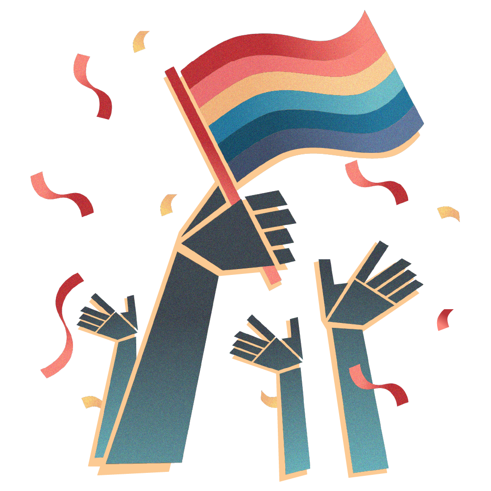 Illustration: Colorful hands raised in celebration holding a Pride flag with confetti.