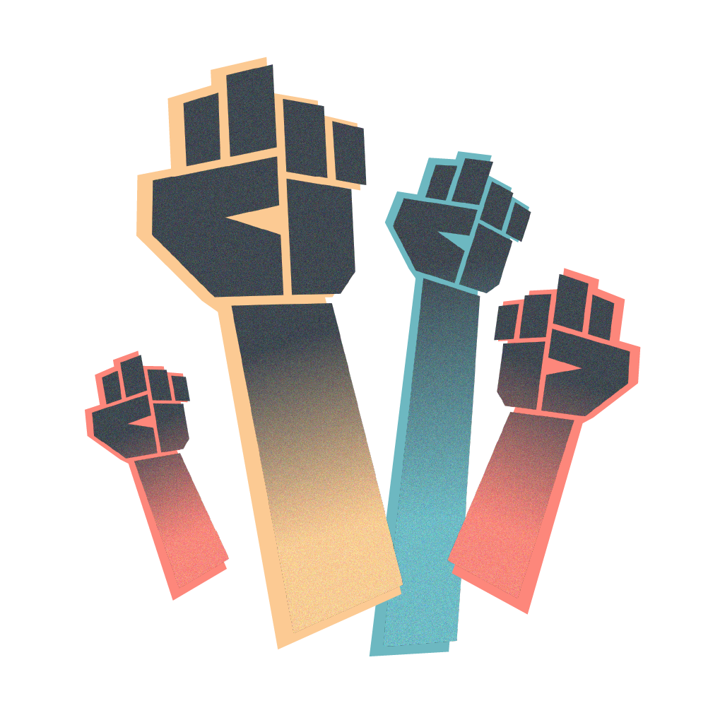 Illustration: Colorful fists raised in protests.
