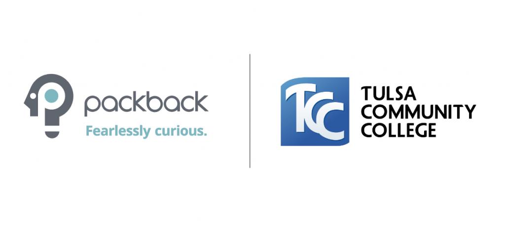 Packback logo next to Tulsa Community College logo on white background