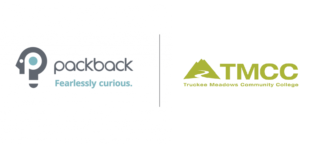 Packback logo next to Truckee Meadows Community College logo on white background