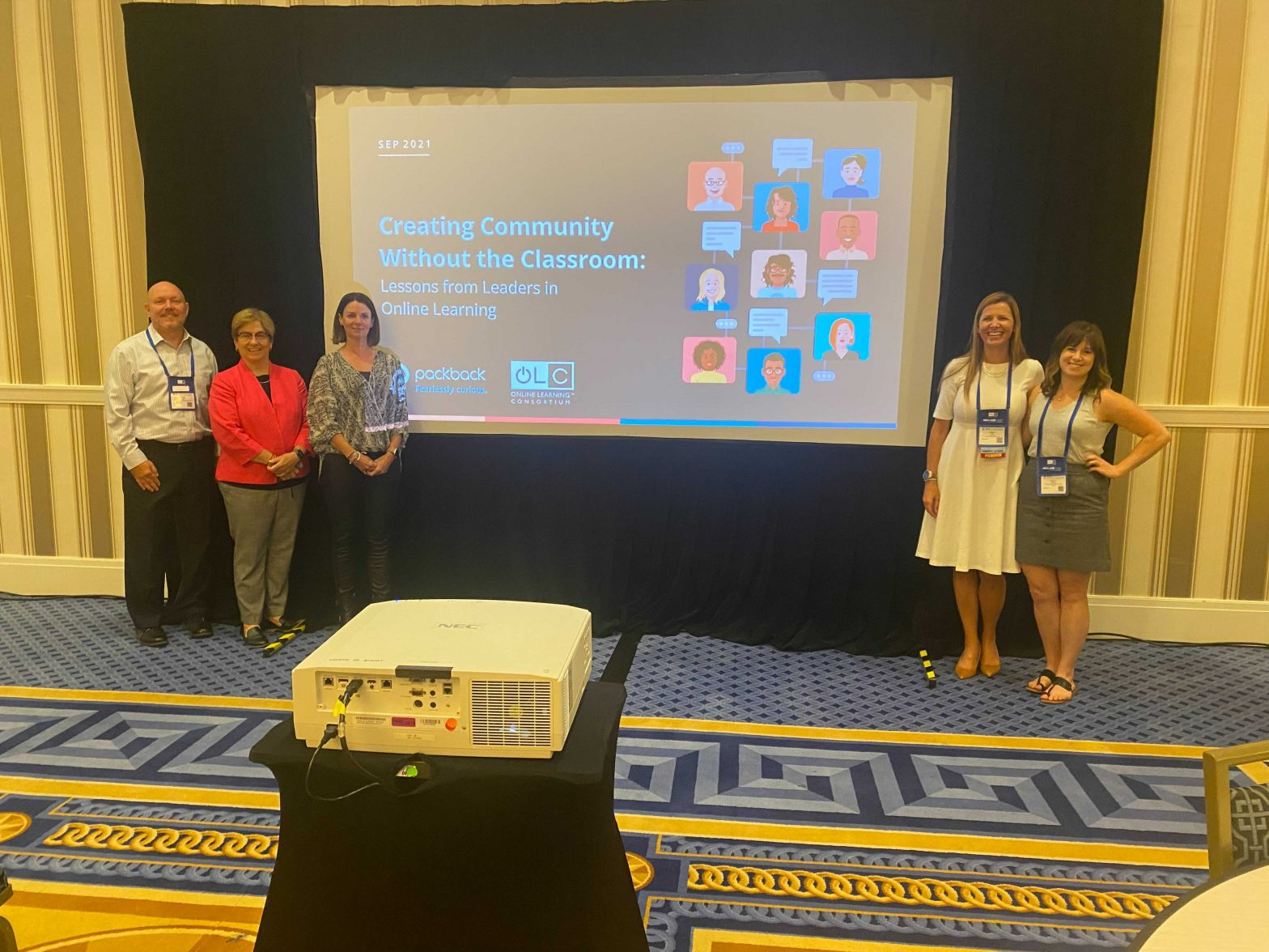 Devyn Maguire with Dr. Marie Cini, Dr. Shannon McCarty, Michael Medlock, Ed.D, and Dr. Allison Rief at their OLC Accelerate 2021 panel