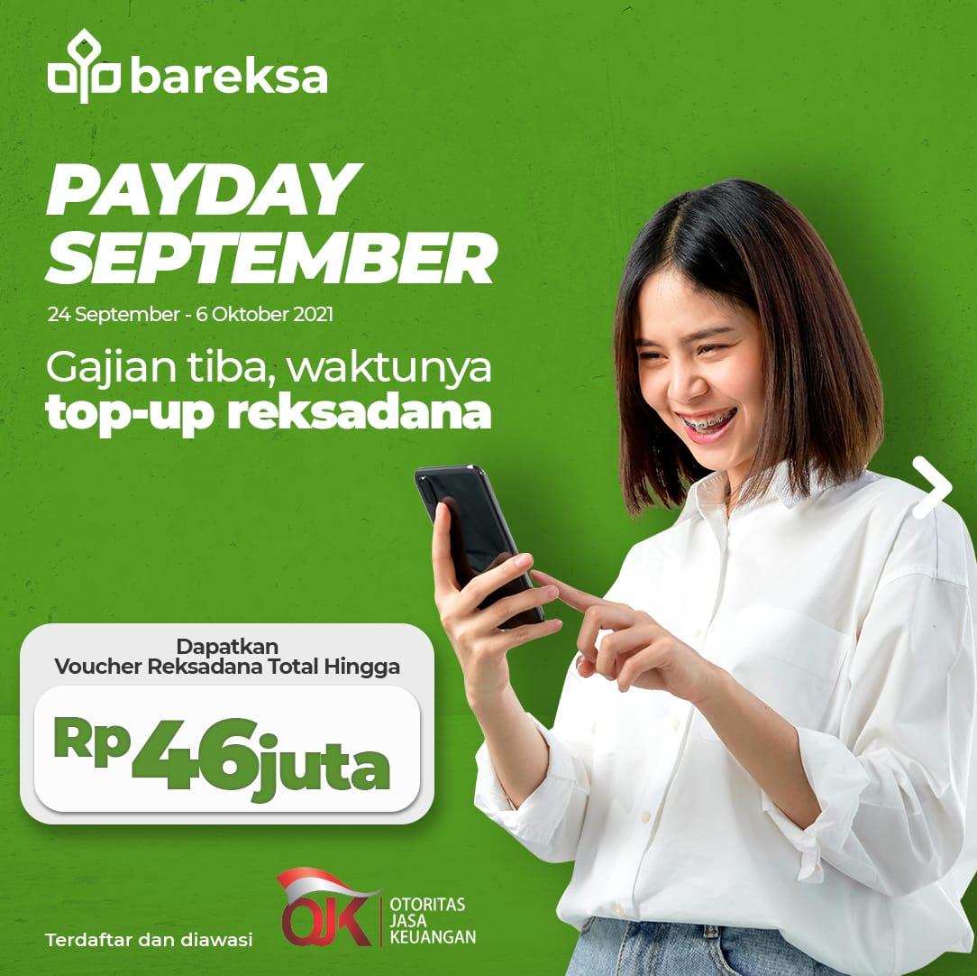 Payday September, Investasi di Bareksa Raih Hadiah Voucher Reksadana Total Rp46 Juta