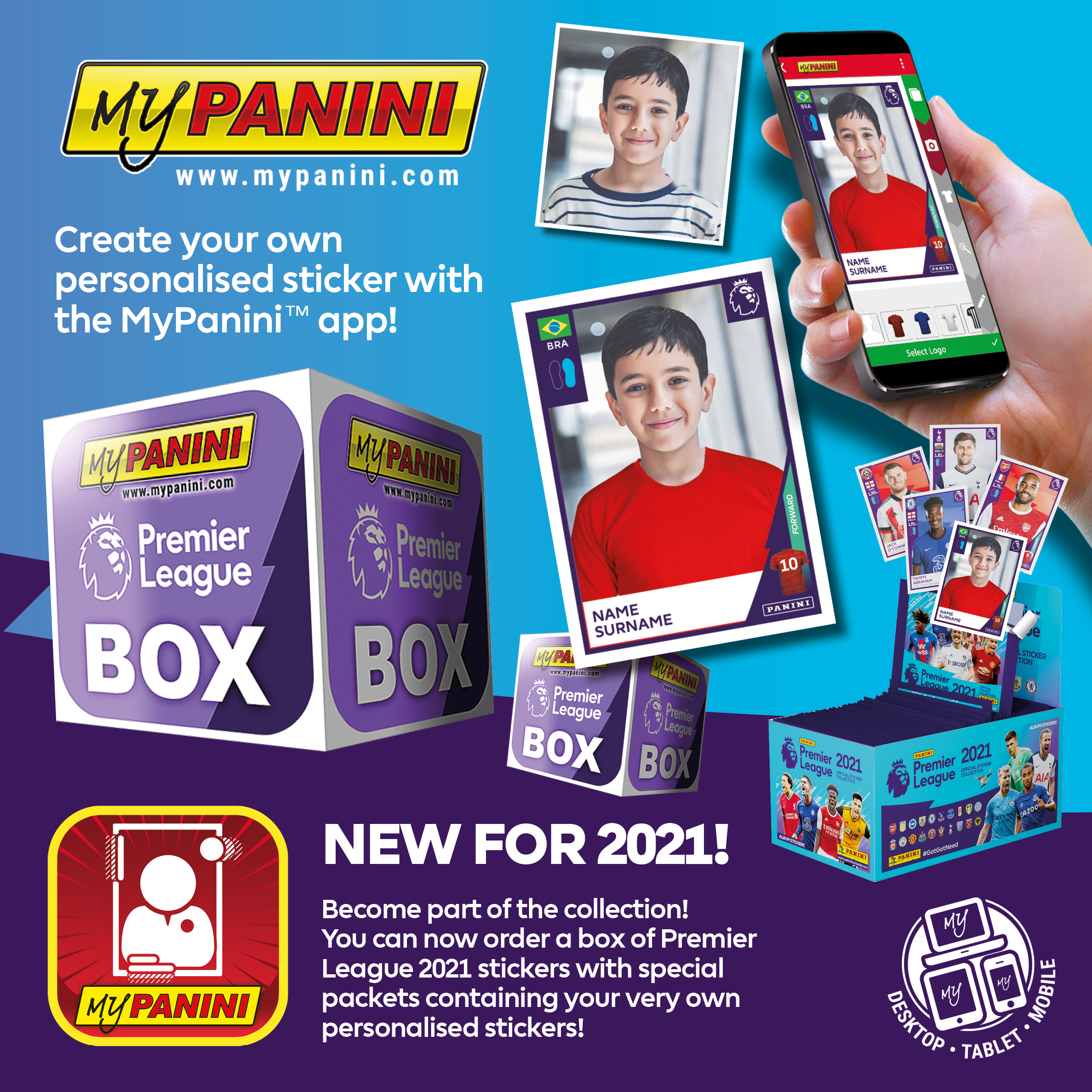 Create your own personalised sticker and be part of the Premier League 2021 Official Sticker Collection! www.mypanini.com