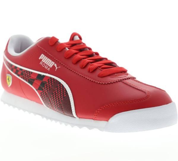 Puma Scuderia Ferrari Roma Mens Rött läder Motorsport Sneakers Skor Rosso Corsa svart US 9.5