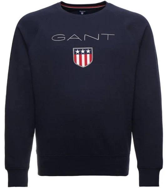 GANT Shield Cneck Sweatshirt evening blue, Storlek: 4XL, Mörkblå