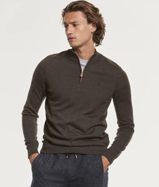 MORRIS Half Zip Sweater Merino John Zip Brun - xs - Herr