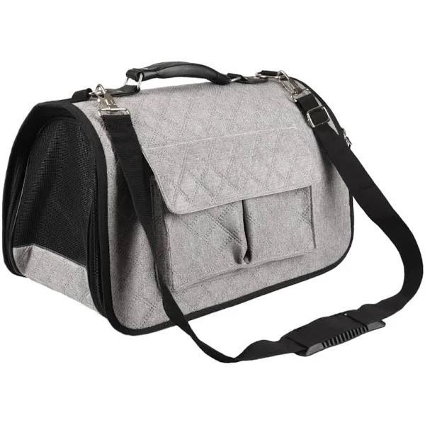 FLAMINGO Transportväska för djur Amy grå 45x21x28 cm