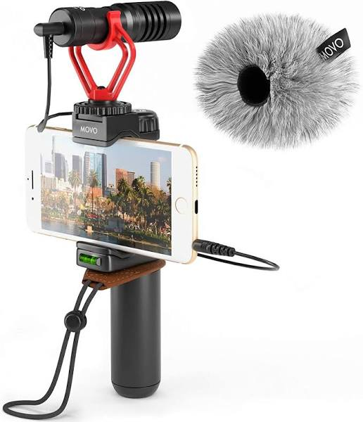 Movo Smartphone Video Rig with Shotgun Microphone, Grip Handle, Wrist