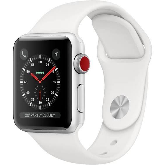 Apple Watch Series 3 GPS + Cellular, 38 mm aluminiumboett i silver med sportband i vitt