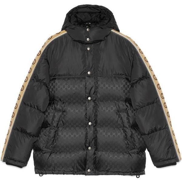 GUCCI GG Jacquard Nylon Padded Coat, Size 54