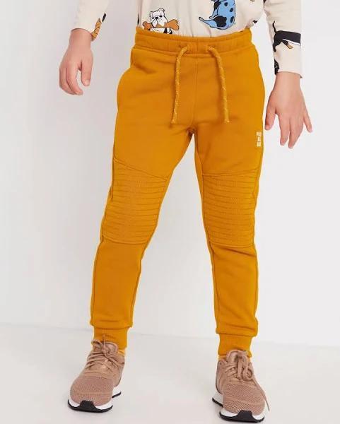 Lindex | Sweatpants med förstärkt knä | Gul | 128 | Pojkkläder