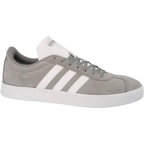 Adidas VL Court 2 Suede Shoes Mens LtGrey/Wht/Wht UK 9.5