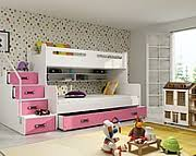 BMS Max 3 Bunk bed 3 persons with mattresses and with drawer for beddding (200x80cm) / colour pink