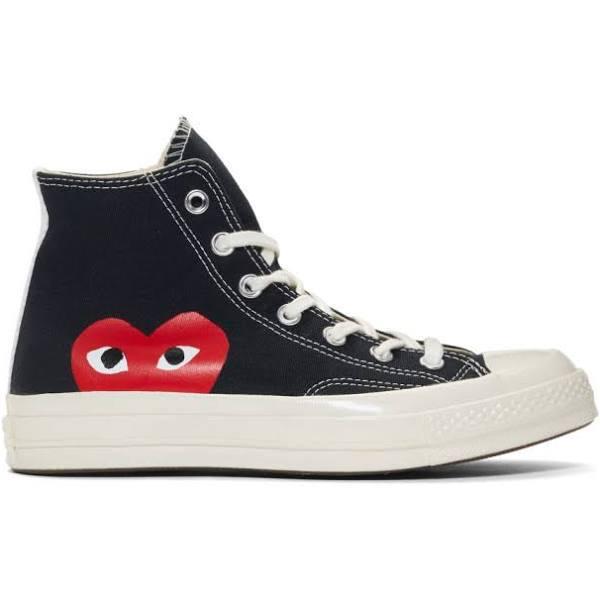 Converse Comme des Garcons x Chuck Taylor All Star Hi Play Black/White Canvas Shoes/ 150204C (Size: US 8.5)