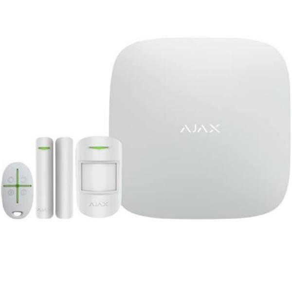 Csslr Plus Ajax Alarm-Kit. Indhold: Security Hub, Pir-Detektor, Åbningskontakt Og Fjernbetjening. App For Ios/Android. Farve: Hvid