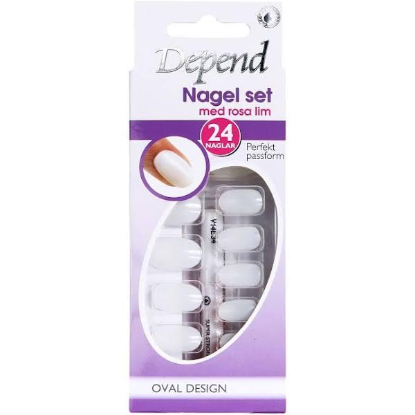 Depend Nagel Set Med Rosa Lim Oval Design