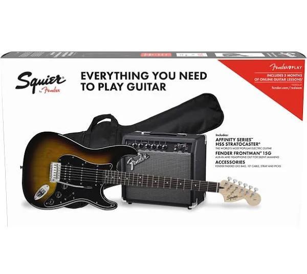 Squier Affinity Stratocaster HSS Paket, Brown Sunburst