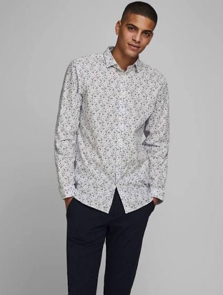 Slim fit blommig skjorta