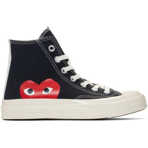 Converse Comme des Garcons x Chuck Taylor All Star Hi Play Black/White Canvas Shoes/ 150204C (Size: US 7)