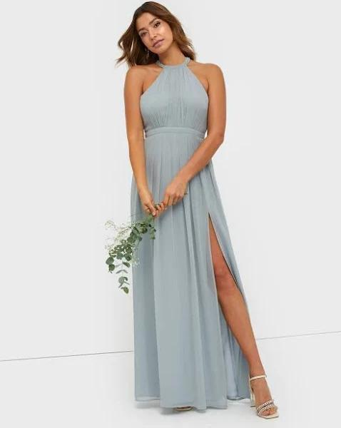 NLY Eve - Maxiklänningar - Dusty Blue - Halterneck Beaded Gown - Festklänningar - Maxi Dresses