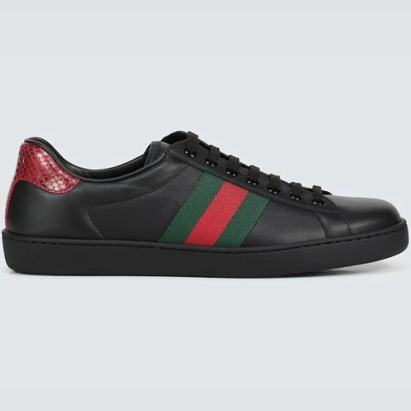 Gucci Men, Ace leather sneakers, Black, EU 45, Shoes