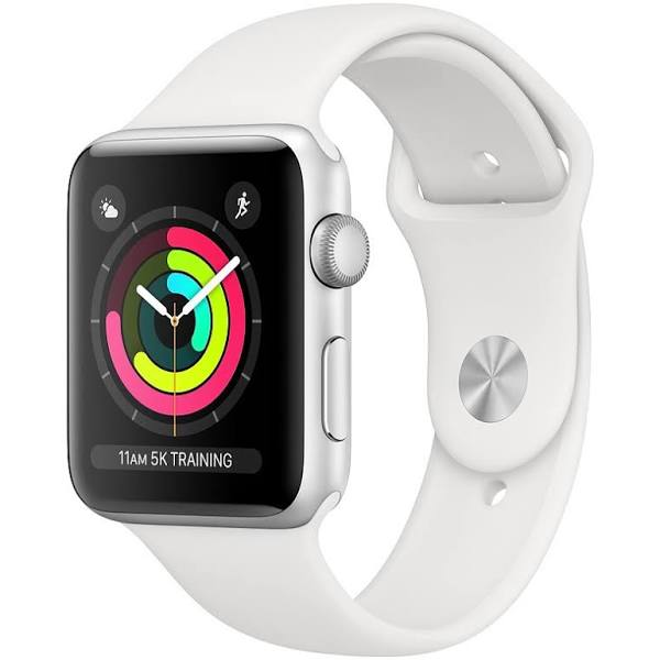 Apple Watch Series 4 38 mm (silver aluminium/vitt sportband)