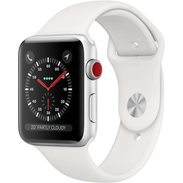 Apple Watch Series 3 GPS + Cellular, 38 mm aluminiumboett i rymdgrått med sportband i svart