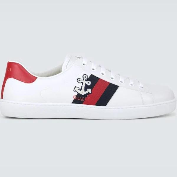 Gucci Men, Embroidered Ace sneakers, White, EU 44, Shoes, Calf Leather
