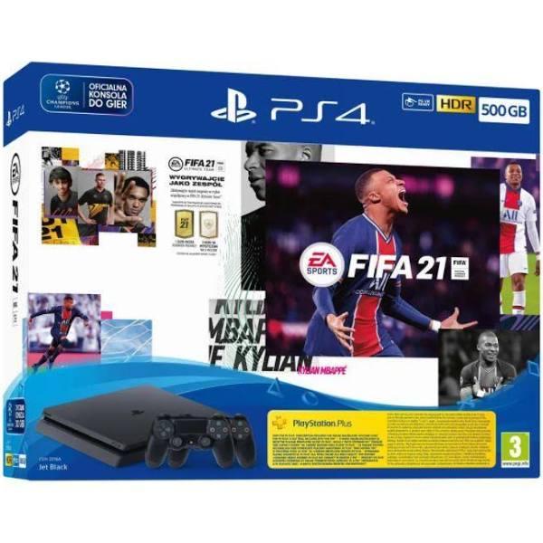Sony PlayStation 4 Slim 500Gb (Inkl. 2 st Handkontroller) + FIFA 21