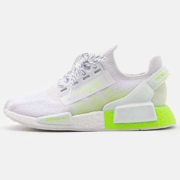 Adidas Originals NMD_R1.V2 Unisex Sneakers footwear white/signal green, gender.adult.unisex, Storlek: 47 1/3, Vit - Konstmaterial/textil