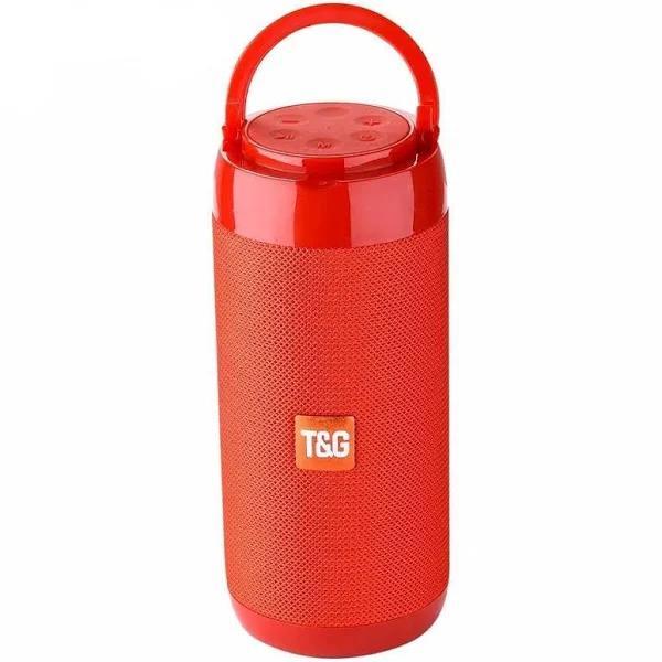 (TG113C Red) Portable Bluetooth-Speaker Wireless Bass Column Waterproof Outdoor USB-Speakers Support AUX/TF Subwoofer Loudspeaker TG117