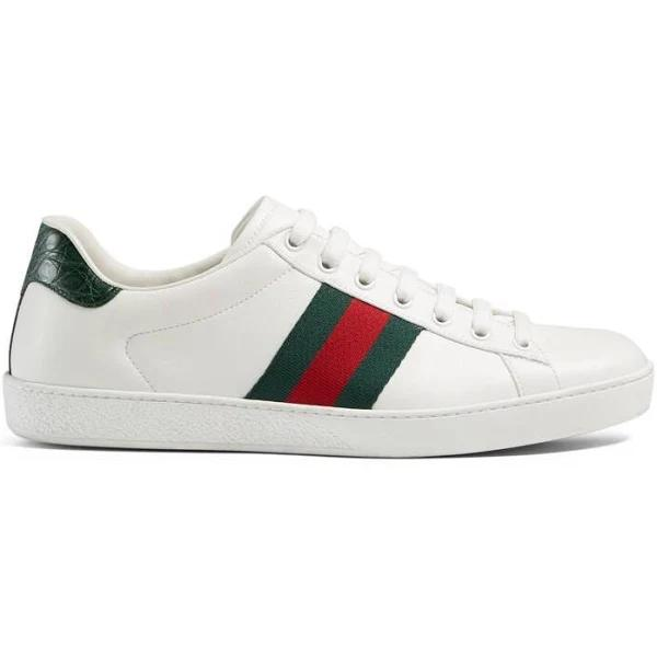 Gucci Men, Ace leather sneakers, White, EU 43, Shoes