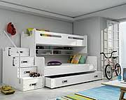 BMS Max 3 bunk bed (3 persons with 2 mattresses and with drawer for bedding 200x80cm) / colour white