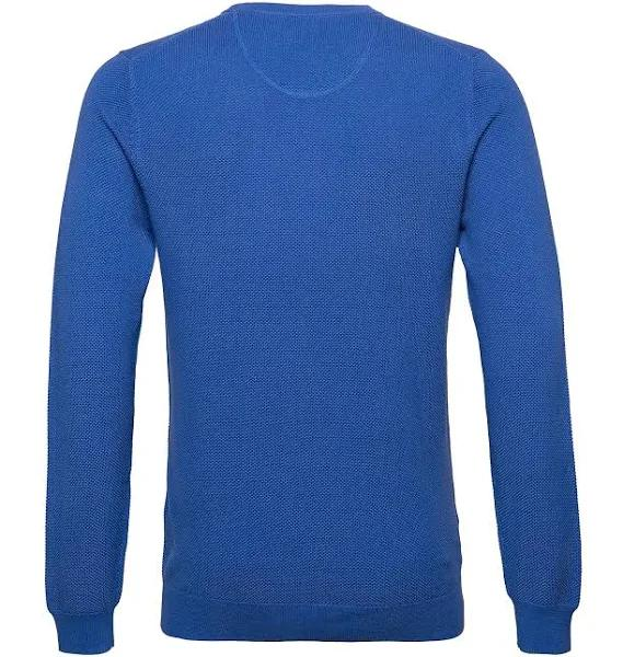 GANT Stickad Tröja Sweater Bomull Pique Crew Blå - XXL - Herr > Toppar
