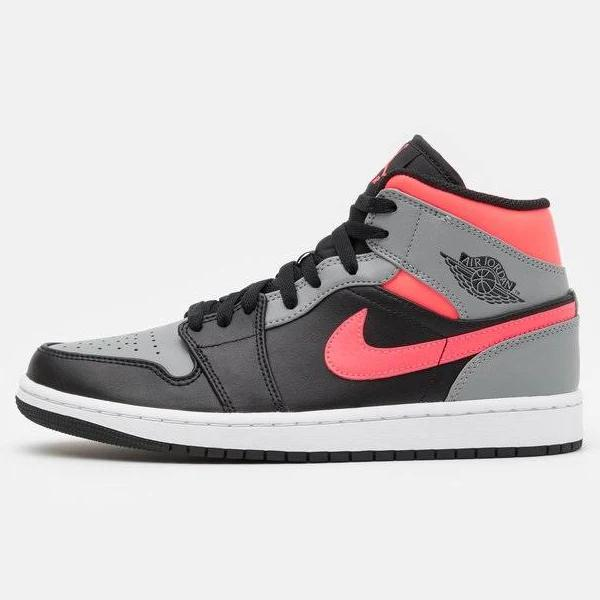 Jordan AIR 1 MID Höga sneakers black/hot punch/white/particle grey, gender.adult.male, Storlek: 48.5, Grå - Skinn och skinnimitation