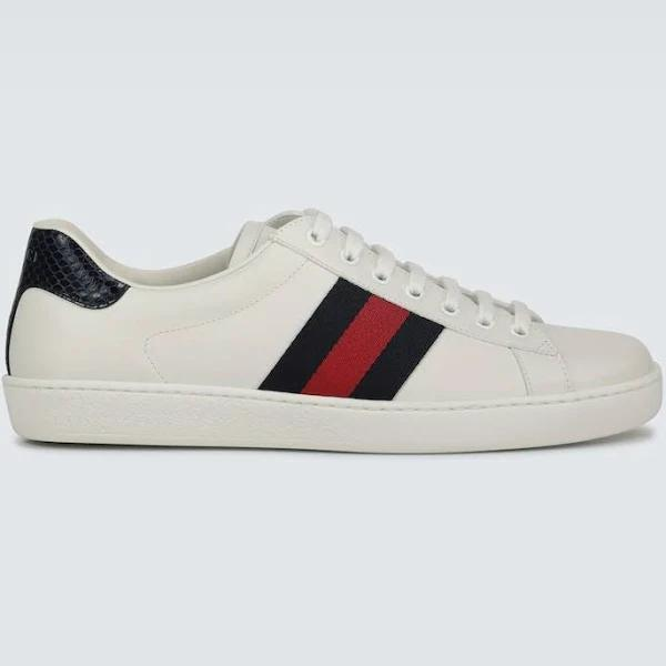 Gucci Men, Ace leather sneakers, White, EU 42, Shoes