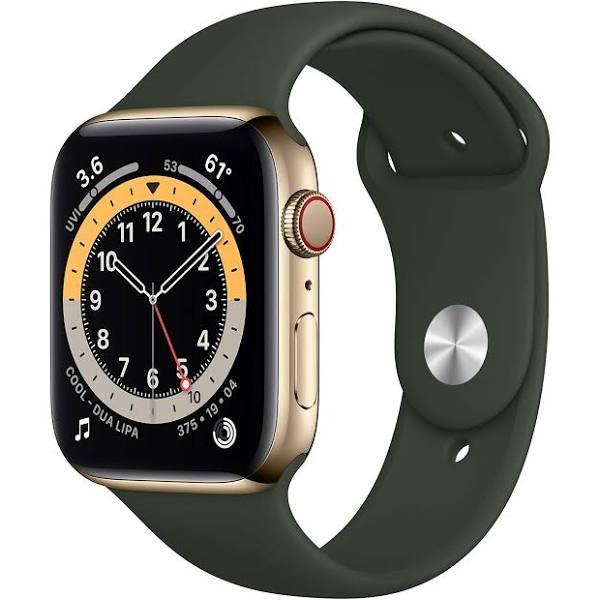 Apple Watch Series 6 GPS + Cellular rostfri stålboett i guld 44 mm cyperngrön sportband M09F3KS/A