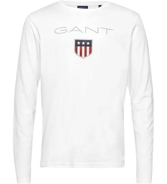 GANT Shield Ls T-shirt Vit - 3XL - Herr > Tshirts