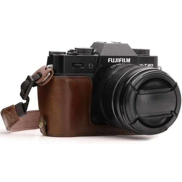 MegaGear Fujifilm X-T30, X-T20, X-T10 Ever Ready Leather Camera Half Case and Strap, Dark Brown