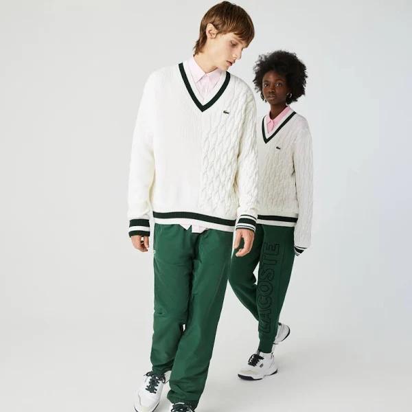 Unisex Lacoste LIVE Wool Blend V-neck Sweater White / Green - 3 - S