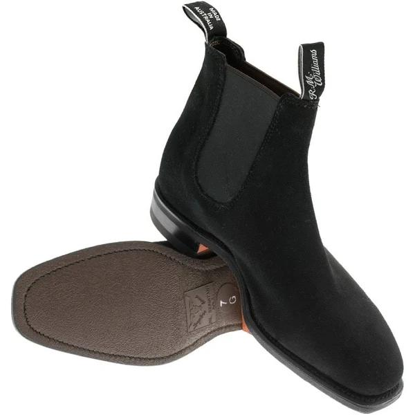 R.M. Williams Black Suede Comfort Craftsman Chelsea Boots