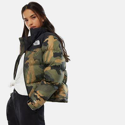 The North Face Women's 1996 Retro Nuptse Jacket Burnt Olive Green Waxed Camo Print - Size: XXL
