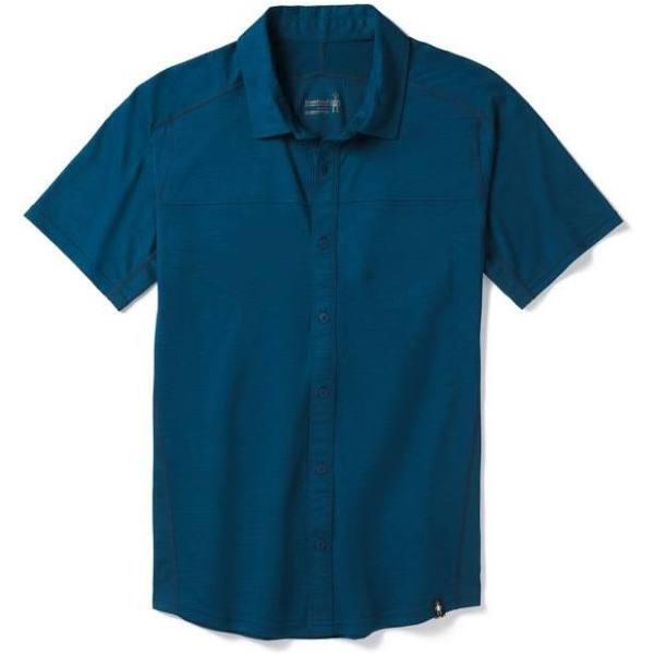 Smartwool m merino sport shirt 150 short sleeve button down (alpine blue)