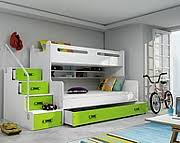 BMS Max 3 Bunk bed 3 persons with mattresses and with drawer for beddding (200x80cm) / colour green
