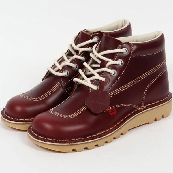 Kickers KICK HI BOOTS IN LEATHER Size: 8 CHERRY BROWN