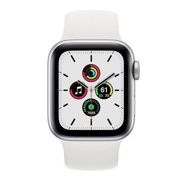 Apple Watch SE 44mm MYDQ2 Silver Aluminum Case with Sport Band - White
