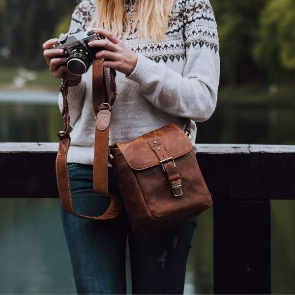 MegaGear Torres Mini Top Grain Leather Camera Messenger Bag for Mirrorless, Instant and DSLR Cameras, Brown