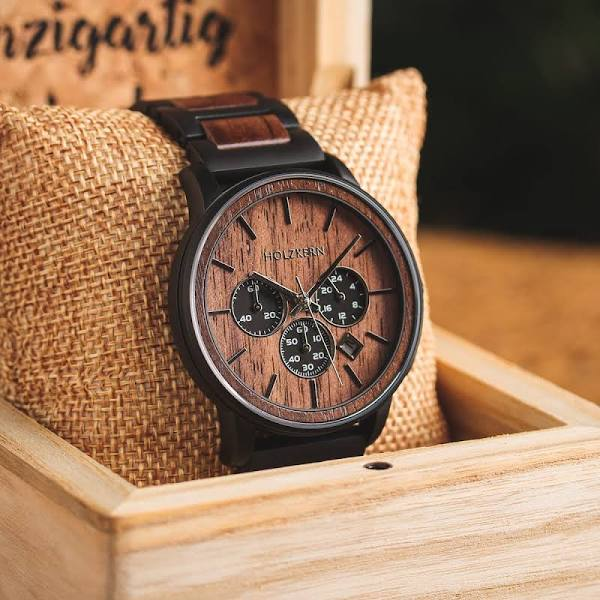 Holzkern Holzkern; Wood Watch Safdie (Walnut/Walnut), male, Natural wood